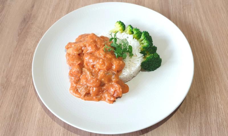 Tête de veau met rijst en broccoli ~normale portie~
